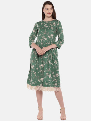 Cottonworld Women's Dresses Women's Cotton Flax Green Regular Fit Dress