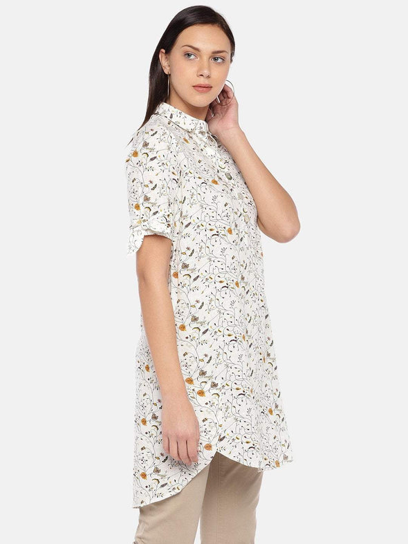 Women's Cotton Flax Offwhite Regular Fit Dress Cottonworld Women's Dresses