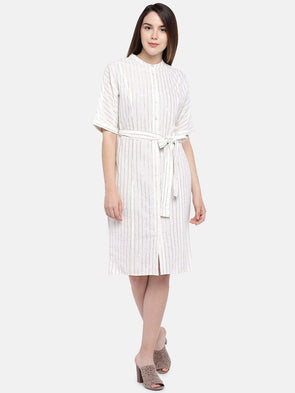 Women's Cotton Linen Gold Regular Fit Dress Cottonworld Women's Dresses