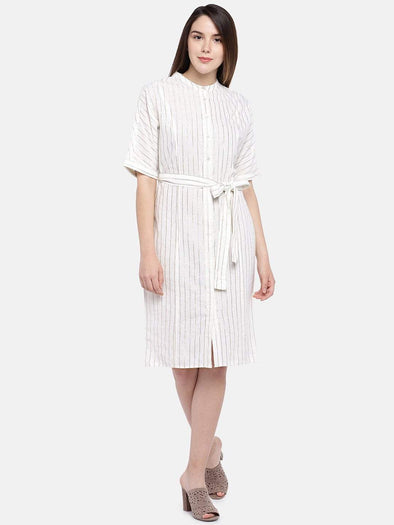 Cottonworld Women's Dresses Women's Cotton Linen Gold Regular Fit Dress