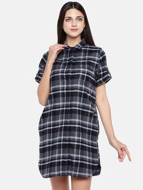 Women's Cotton Lycra Grey Regular Fit Dress Cottonworld Women's Dresses