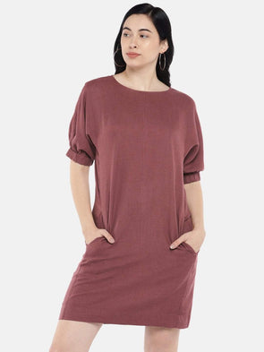 Cottonworld Women's Dresses Women's Cotton Maroon Regular Fit Dress