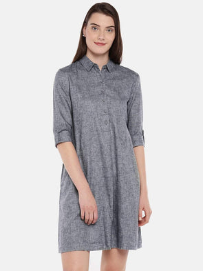 Cottonworld Women's Dresses Women's Cotton Navy Regular Fit Dress