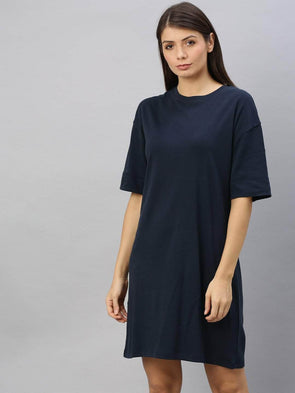 Cottonworld Women's Dresses Women's Cotton Navy Regular Fit Kdress