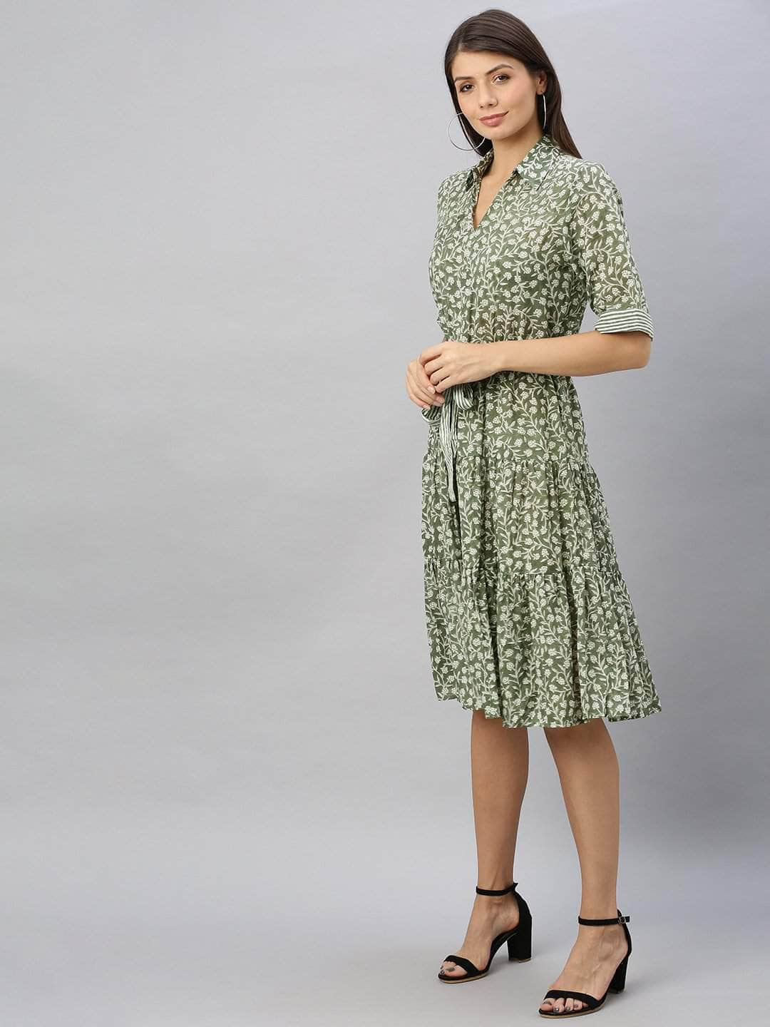 Olive Cotton Dress Women S Semi Formal Wear Regular Fit Cotton Dress Cottonworld Fabulous fit® allows you to customize your dress form to match your shape, whatever your size may be. inr