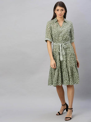 Cottonworld Women's Dresses Women's Cotton Olive Regular Fit Dress