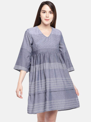 Cottonworld Women's Dresses Women's Cotton Viscose Blue Regular Fit Dress