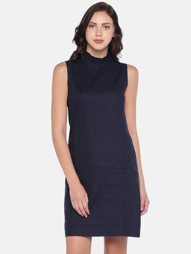 Women's Cotton Woven Navy Regular Fit Dress Cottonworld Women's Dresses