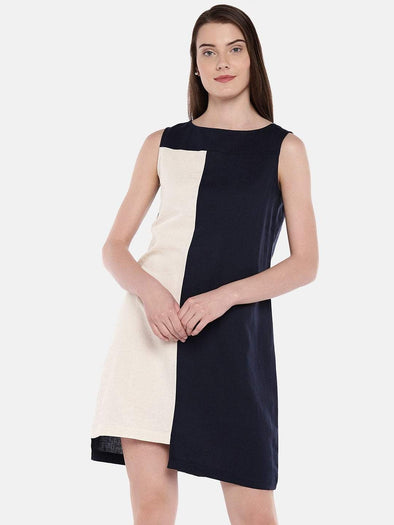 Cottonworld Women's Dresses Women's Linen Cotton Navy Regular Fit Dress