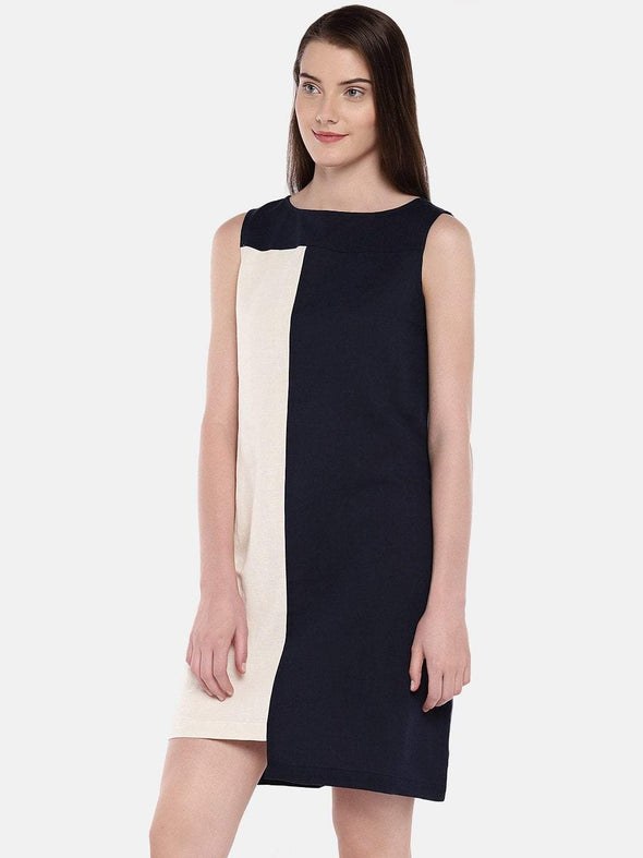 Women's Linen Cotton Navy Regular Fit Dress Cottonworld Women's Dresses
