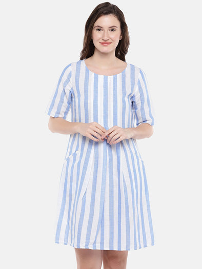 Cottonworld Women's Dresses Women's Linen Cotton White Regular Fit Dress
