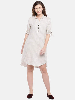 Cottonworld Women's Dresses Women's Linen Natural Regular Fit Dress