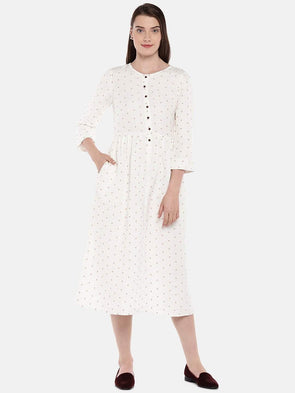 Women's Linen Viscose Beige Regular Fit Dress Cottonworld Women's Dresses