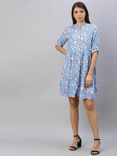 Women's Rayon Blue Regular Fit Dress Cottonworld Women's Dresses