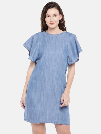 Cottonworld Women's Dresses Women's Tencel Blue Regular Fit Dress