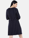 Women's Viscose Elastane Navy White Regular Fit Kdress Cottonworld Women's Dresses