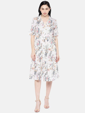 Women's Viscose Offwhite Regular Fit Dress Cottonworld Women's Dresses