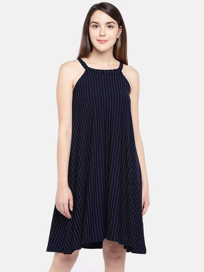 152150439 Cottonworld Women's Dresses Women's Viscose Polyster Lycra Navy White  Regular Fit Kdress
