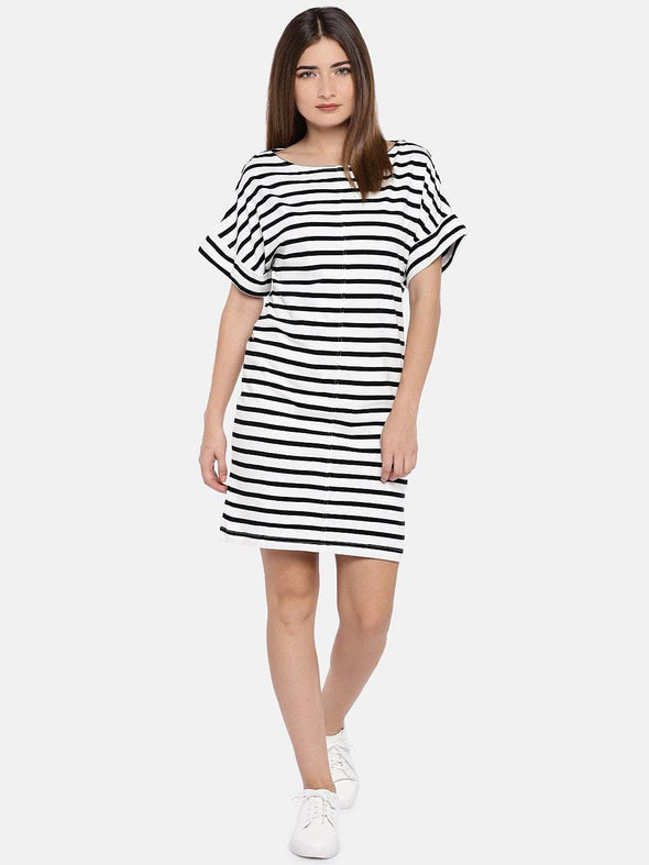Women's Cotton Knit Black/Whit Regular Fit Kdress Cottonworld Women's Dresses