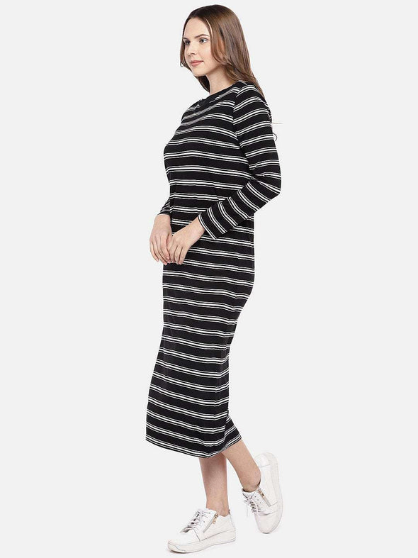 Women's Viscose Elastane Black/White Slim Fit Knit dress Cottonworld Women's Dresses