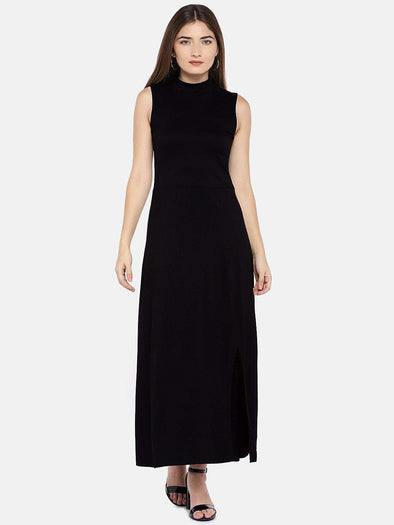 Women's Viscose Elastane Knit Black Slim Fit Kdress Cottonworld Women's Dresses