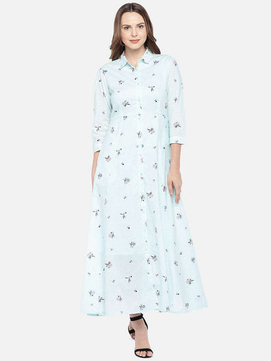 Women's Cambric Light Blue Regular Fit Dress Cottonworld Women's Dresses