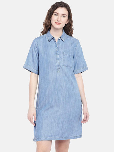 Cottonworld Women's Dresses XSMALL / BLUE Women's 100% Tencel Woven Blue Regular Fit Dress