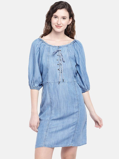 Cottonworld Women's Dresses XSMALL / BLUE Women's 100% Tencel Woven Blue Slim Fit Dress
