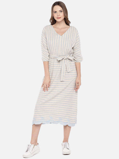 Women's Cotton Flax Blue Regular Fit Dress Cottonworld Women's Dresses