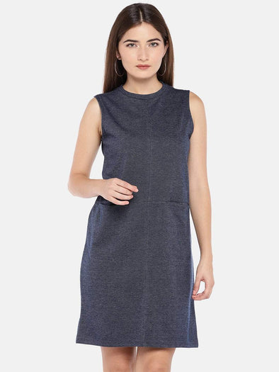 Cottonworld Women's Dresses XSMALL / BLUE Women's Cotton Knit Denim Regular Fit Kdress