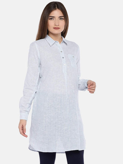 Cottonworld Women's Dresses XSMALL / BLUE Women's Cotton Linen Woven Blue Regular Fit Dress