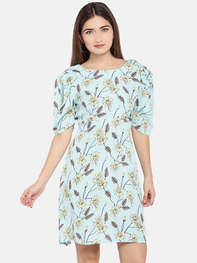 Women's Viscose Woven Sky Regular Fit Dress Cottonworld Women's Dresses