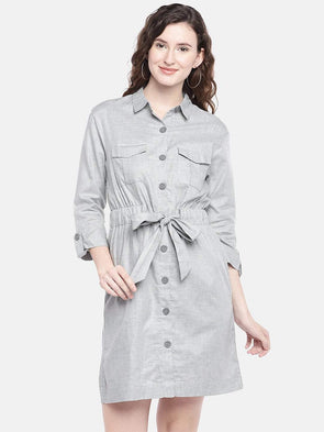 Cottonworld Women's Dresses XSMALL / GREY Women's 100% Cotton Woven Grey Regular Fit Dress