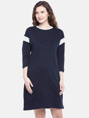 Cottonworld Women's Dresses XSMALL / NAVY Women's 100% Cotton Knit Navy Regular Fit Kdress