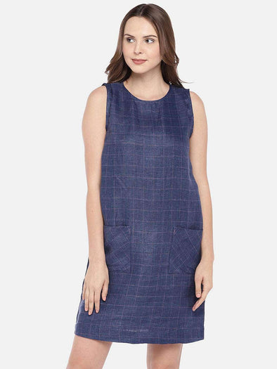 Women's Linen Navy/Purple Regular Fit Dress Cottonworld Women's Dresses