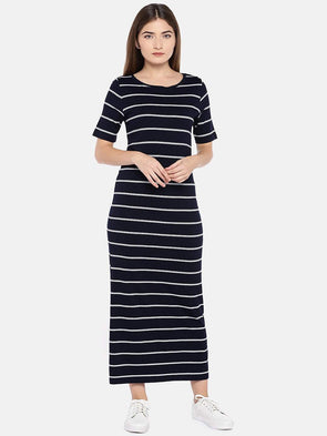Cottonworld Women's Dresses XSMALL / NAVY Women's Viscose Elastane Knit Navy/White Regular Fit Kdress