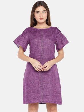 Cottonworld Women's Dresses XSMALL / PURPLE Women's Linen Woven Purple Regular Fit Dress