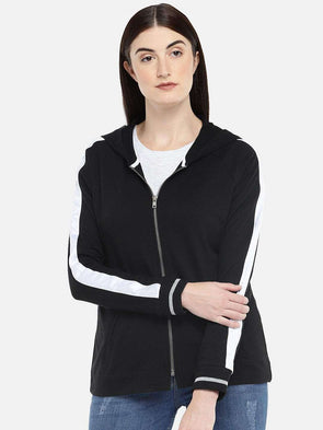 Women's Cotton Black Regular Fit Jacket