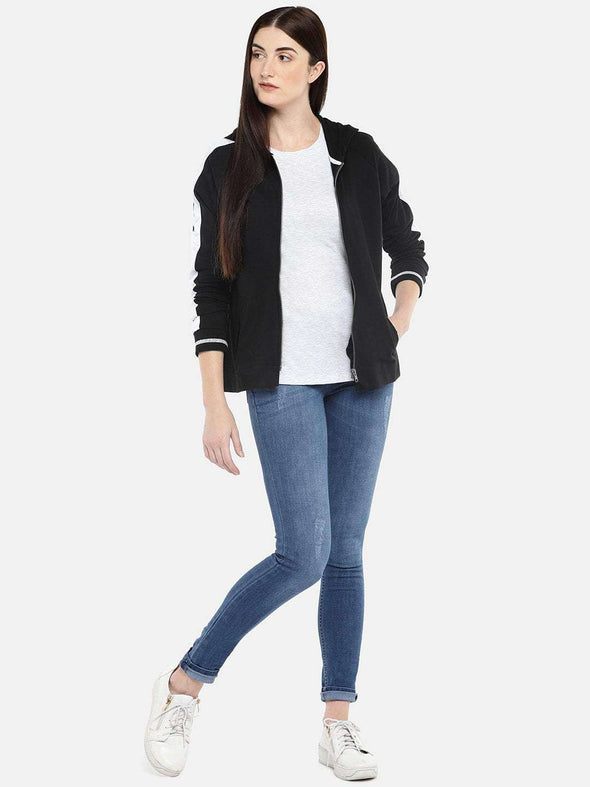 Women's Cotton Black Regular Fit Jacket Cottonworld Women's Jackets