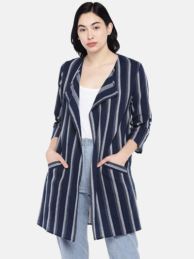Women's Cotton Navy Regular Fit Jacket Cottonworld Women's Jackets