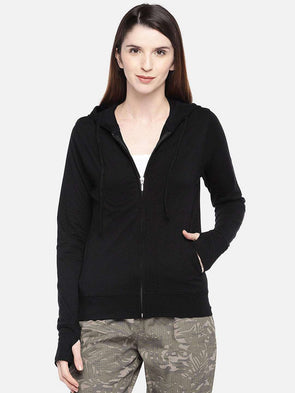 Cottonworld Women's Jackets XSMALL / BLACK Women's Cotton 5% Elastane Knit Black Regular Fit Knit Jacket