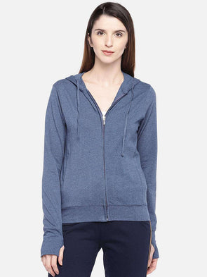 Cottonworld Women's Jackets XSMALL / BLUE Women's Cotton 5% Elastane Knit Denim Blue Regular Fit Knit Jacket