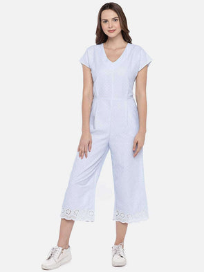 Women's Cotton Blue/White Regular Fit Jumpsuit Cottonworld Women's Jumpers