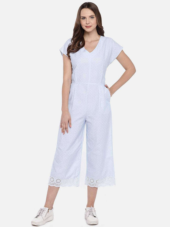 Cottonworld Women's Jumpers XSMALL / BLUE Women's 100% Cotton Woven Blue/White Regular Fit Jumpsuit