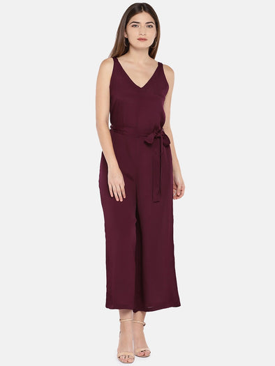 Cottonworld Women's Jumpers XSMALL / MAROON Women's Viscose Woven Maroon Regular Fit Jumpsuit