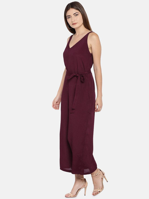 Women's Viscose Woven Maroon Regular Fit Jumpsuit Cottonworld Women's Jumpers