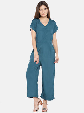 Cottonworld Women's Jumpers XSMALL / TEAL Women's Viscose Woven Teal Regular Fit Jumpsuit