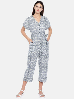 Women's Cotton Grey Regular Fit Jumpsuit Cottonworld Women's Jumpsuits