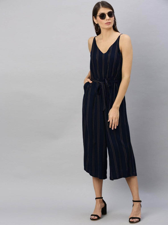 Women's Rayon Navy Regular Fit Jumpsuit Cottonworld Women's Jumpsuits
