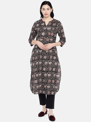Women's Cambric Black Regular Fit Kurta Cottonworld Women's Kurtas